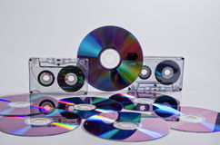 Compact cassettes and CDs DVD. Stock Images