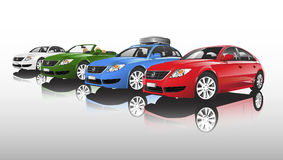 Compact city car collection isolated on white background Stock Photo