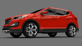 Compact city crossover red color on a gray background. 3d rendering. Compact city crossover red color on a gray background. 3d rendering Royalty Free Stock Photo