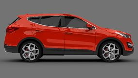 Compact city crossover red color on a gray background. 3d rendering. Compact city crossover red color on a gray background. 3d rendering Royalty Free Stock Images