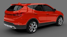 Compact city crossover red color on a gray background. 3d rendering. Compact city crossover red color on a gray background. 3d rendering Stock Photography