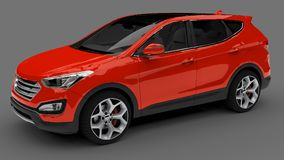 Compact city crossover red color on a gray background. 3d rendering. Compact city crossover red color on a gray background. 3d rendering Royalty Free Stock Image