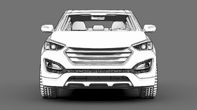 Compact city crossover white color on a gray background. Monochrome schematic image with shadows on the surface. 3d rendering. Compact city crossover white Stock Images