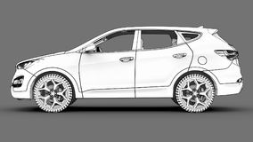 Compact city crossover white color on a gray background. Monochrome schematic image with shadows on the surface. 3d rendering. Compact city crossover white Royalty Free Stock Photos