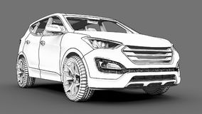 Compact city crossover white color on a gray background. Monochrome schematic image with shadows on the surface. 3d rendering. Compact city crossover white Stock Photography