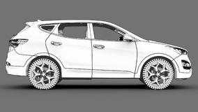 Compact city crossover white color on a gray background. Monochrome schematic image with shadows on the surface. 3d rendering. Compact city crossover white Royalty Free Stock Photography