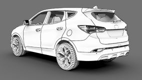 Compact city crossover white color on a gray background. Monochrome schematic image with shadows on the surface. 3d rendering. Compact city crossover white Stock Photo