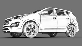Compact city crossover white color on a gray background. Monochrome schematic image with shadows on the surface. 3d rendering. Compact city crossover white Royalty Free Stock Photo