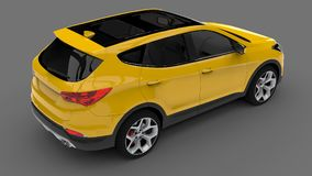 Compact city crossover yellow color on a gray background. 3d rendering. Compact city crossover yellow color on a gray background. 3d rendering Stock Photo