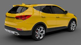 Compact city crossover yellow color on a gray background. 3d rendering. Compact city crossover yellow color on a gray background. 3d rendering Royalty Free Stock Photos