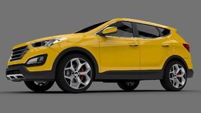 Compact city crossover yellow color on a gray background. 3d rendering. Compact city crossover yellow color on a gray background. 3d rendering Stock Photos