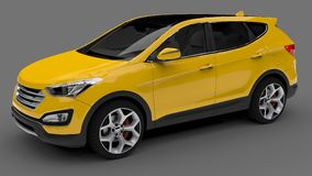 Compact city crossover yellow color on a gray background. 3d rendering. Compact city crossover yellow color on a gray background. 3d rendering Royalty Free Stock Image