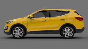 Compact city crossover yellow color on a gray background. 3d rendering. Compact city crossover yellow color on a gray background. 3d rendering Royalty Free Stock Photo