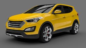 Compact city crossover yellow color on a gray background. 3d rendering. Compact city crossover yellow color on a gray background. 3d rendering Royalty Free Stock Images