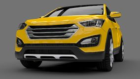 Compact city crossover yellow color on a gray background. 3d rendering. Compact city crossover yellow color on a gray background. 3d rendering Stock Photography