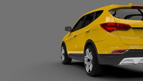 Compact city crossover yellow color on a gray background. 3d rendering. Compact city crossover yellow color on a gray background. 3d rendering Stock Images