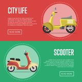 Compact city transport flyers with classic mopeds. Personal mobility and transportation, urban retro motorcycle. Motorbike shop advertising campaign, new Stock Image