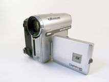Compact consumer video camera. Front view of a compact consumer video camera Royalty Free Stock Photography