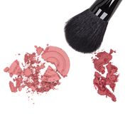 Compact and cream blush with makeup brush Stock Photo