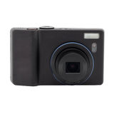 Compact digital camera. Black compact digital camera with a protruding lens. Isolated object Stock Photo