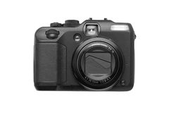 Compact digital camera. Advanced compact digital camera isolated on white background Royalty Free Stock Photos