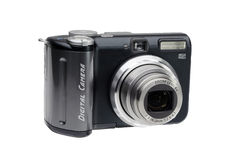 Compact Digital Camera. Black Compact Digital Camera. Clipping path included for easy extraction Royalty Free Stock Photos