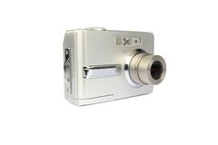 Compact digital camera. On white royalty free stock image