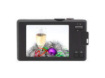 Compact digital camera. Christmas photo. Royalty Free Stock Photos