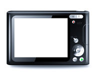 Compact digital camera with empty LCD. Screen isolated on reflective table Stock Photo