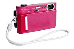 Compact digital camera with strap. Photo of digital compact camera with strap isolated on white Stock Image