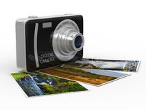 Compact digital camera on white. Isolated Stock Photos