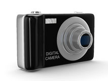 Compact digital camera on white. Isolated 3D Royalty Free Stock Photo
