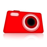 Compact digital photo camera. Compact red digital photo camera isolated over white background Stock Image