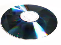 Compact disc. Reflecting light, isolated on white background Stock Images