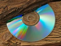 Compact Disc. On wood Stock Image