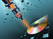 Compact disc burning. Laser beam writing data on a compact disc. Digital illustration Royalty Free Stock Photos