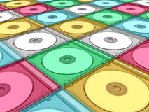 Compact disc (or CD, DVD, BD) with slim box Stock Images