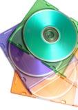 Compact-disc coloreados del dvd Imagen de archivo libre de regalías