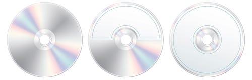 Compact disc con l'insieme di contrassegno isolato Fotografia Stock Libera da Diritti