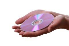 compact disc in de handen van de vrouw Stock Afbeeldingen