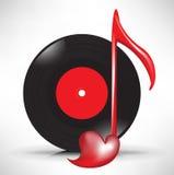 Compact disc e nota chiave musicale di amore Fotografia Stock Libera da Diritti