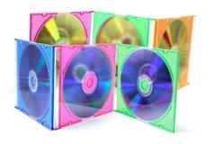 Compact-disc en casos plásticos Fotografía de archivo libre de regalías