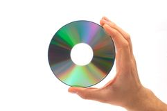 Compact disc in hand. Cd in hand, on white Royalty Free Stock Photo