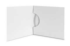 Compact disc package on white background stock photo