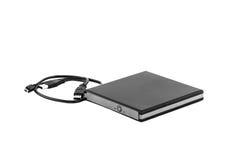 Compact disc rewritable. Portable slim external CD DVD burner writer isolated on white Stock Image