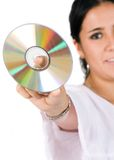 Compact disc - woman Stock Photos