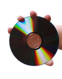 Compact disc in woman's hand. Isolated Stock Photos