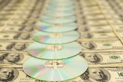 Compact Discs. On American Hundred Royalty Free Stock Image
