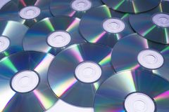 Compact Discs or CDs. A shot of shiny Compact Discs or CDs, over a white background royalty free stock photo
