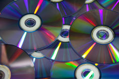 Compact discs with colour light Royalty Free Stock Images